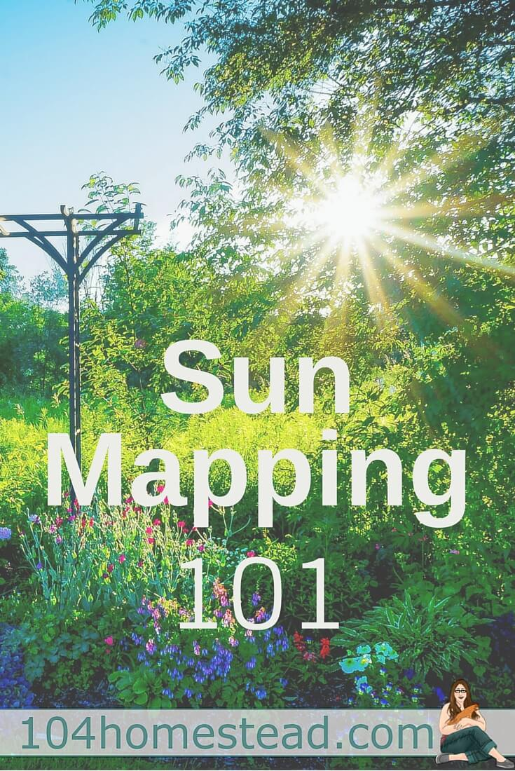 It's important to sun map so you know where to put your plants. This is critical for flowers as well as vegetables and other produce. Map out your sun.