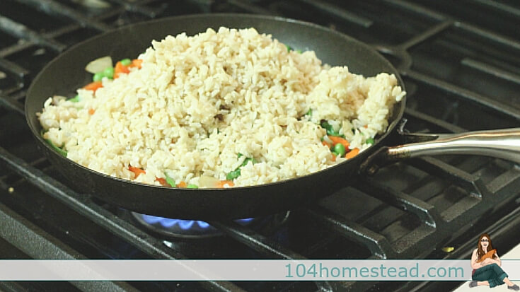 This is a one skillet dish, so clean up is easy. Since this fried rice recipe makes use of a lot of leftovers, your refrigerator will have more room as well.