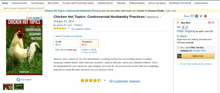 You can even find Chicken Hot Topics on Amazon in both print and Kindle edition.