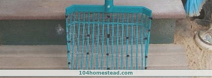 A modified stall rake makes a giant kitty litter scoop. Just use zip ties to attach some hardware cloth.