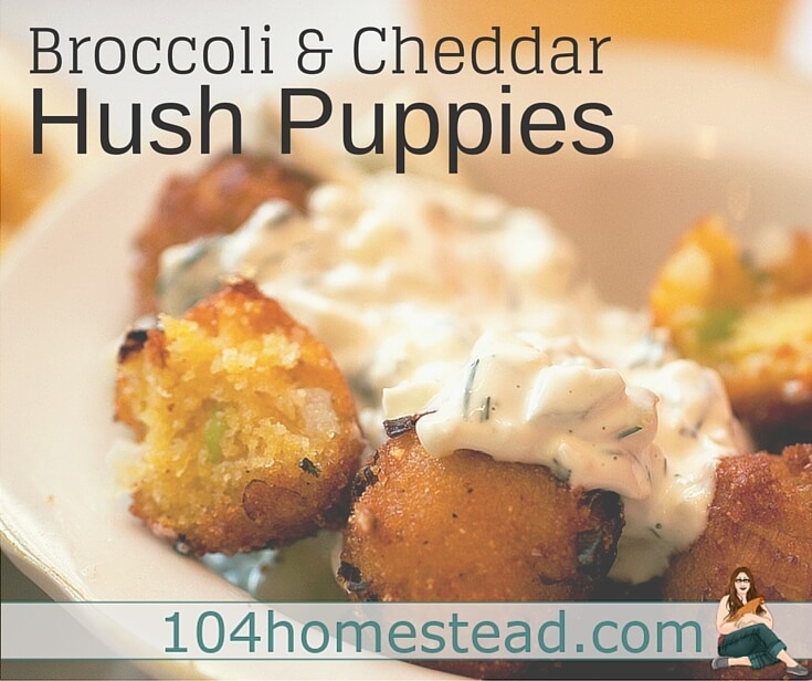 This hush puppies recipe uses the broccoli stems instead of the head. Broccoli stems are chock full of vitamins and nutrients. The same taste, just a bit milder.