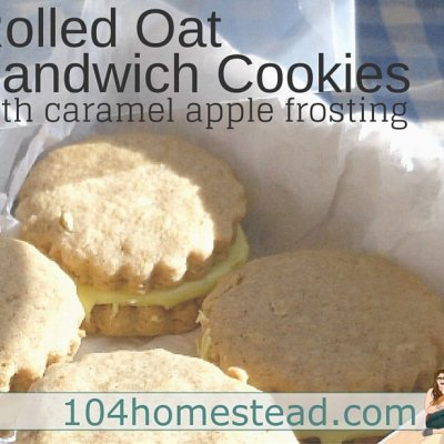 Rolled Oat Sandwich Cookies with Caramel Apple Frosting