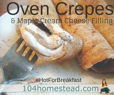 Oven crepes are super easy to make and hard to mess up. You'll love them even more if you fill them with this delicious maple cream cheese filling. It's our family favorite.